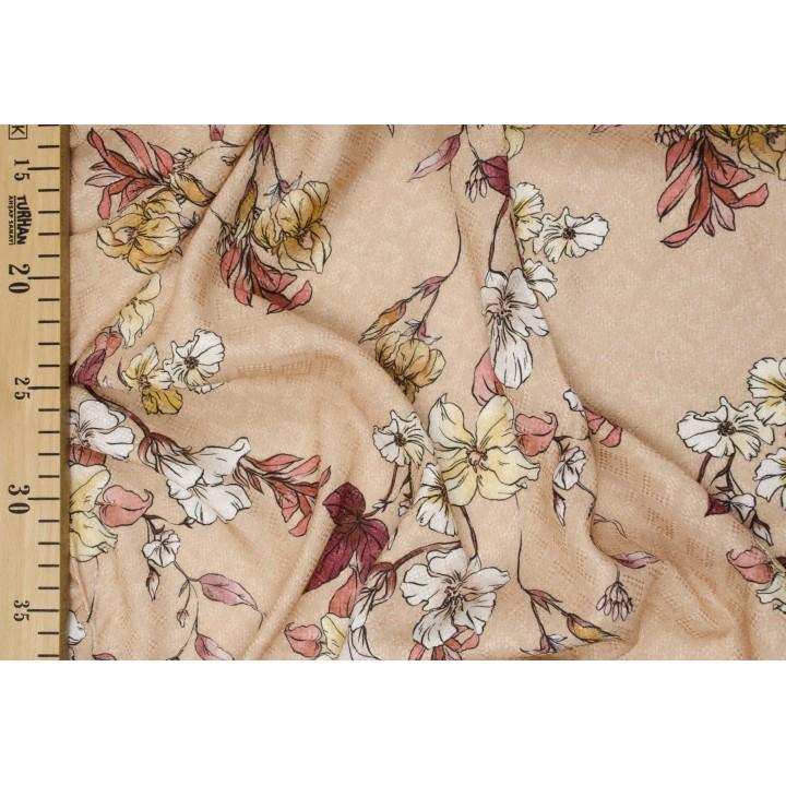Цветы на штапеле в спокойном персиковом оттенке