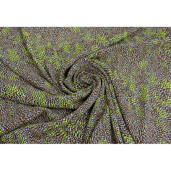 Вискозный штапель с мелким принтом под леопарда с яркими салатовым пятнами