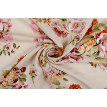 Розы на нейтральном персиковом фоне штапельной ткани
