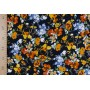 Штапель для одежды - мелкие оранжевые цветы нв черном фоне