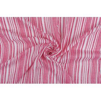 Тонкий штапель с креповой текстурой - белый в красную полоску