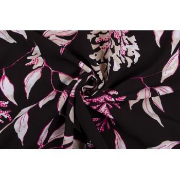 Штапель - красивый розовый узор из листьев на нейтральном черном фоне