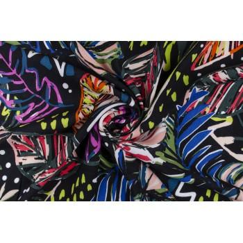 Тропики в неоновом цвете - на черном фоне штапеля