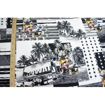 Гавайи в черно-белой гамме на вискозном штапеле