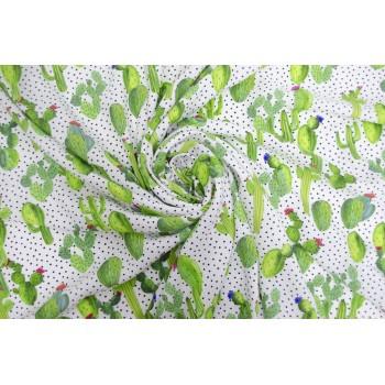 Белый штапель с яркими зелеными кактусами