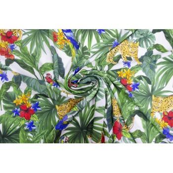 Яркий штапель с тропиками и попугаями