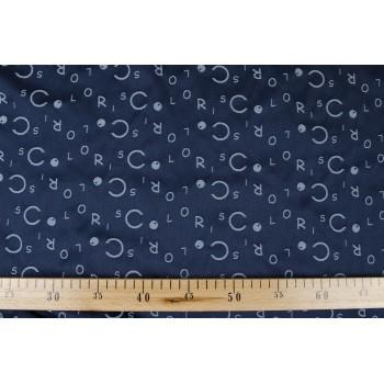Плотная темно синяя тафта с надписью