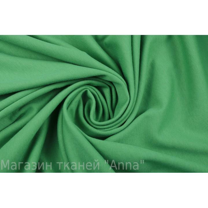 Хлопковый трикотаж насыщенного зеленого цвета