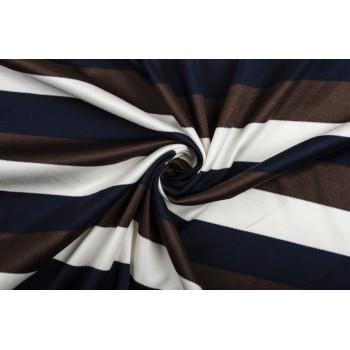 Трикотаж в полоску - темно-коричневый, темно-синий, белый