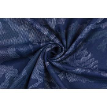 Рельефнй трикотаж с ячеистой тестурой - принт в темно-синих тонах