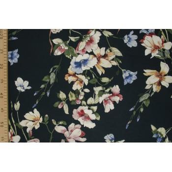 Цветы акварель - мягкий матовый вискозный трикотаж