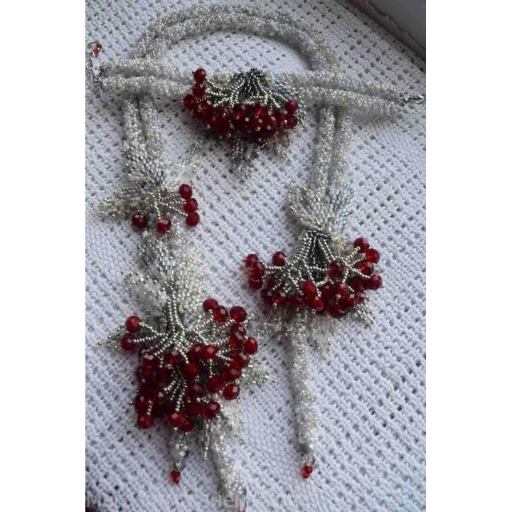 Белый жгут с браслетом - Красная Рябина