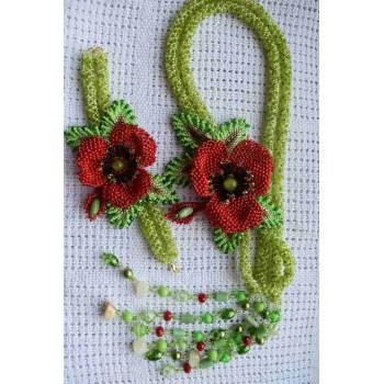 Жгут-петля с браслетом - мак в нежной зелени