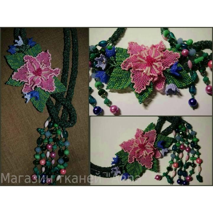 Бисерные украшения жгут-петля Орхидея
