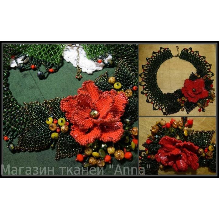 Колье Красный цветок выполнено из качественного Японского и Чешского бисера