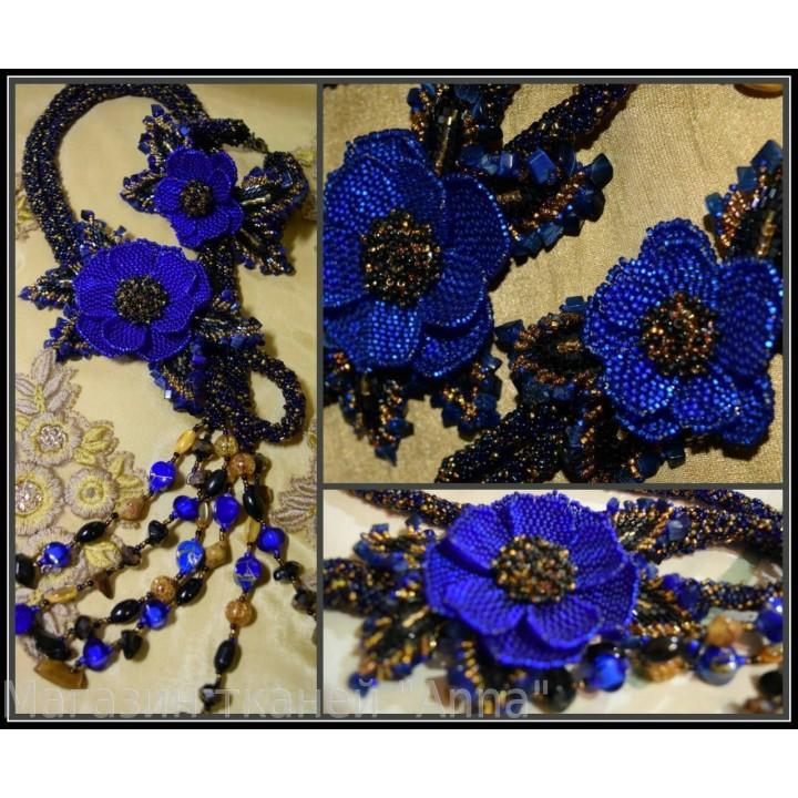 Жгут-петля синий цветок с полудрагоценных камней