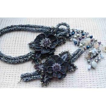Жгут-петля + браслет в перламутровом цвете