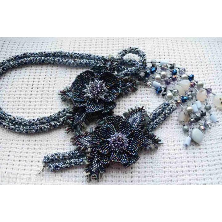 Жгут-петля и браслет в перламутровом цвете
