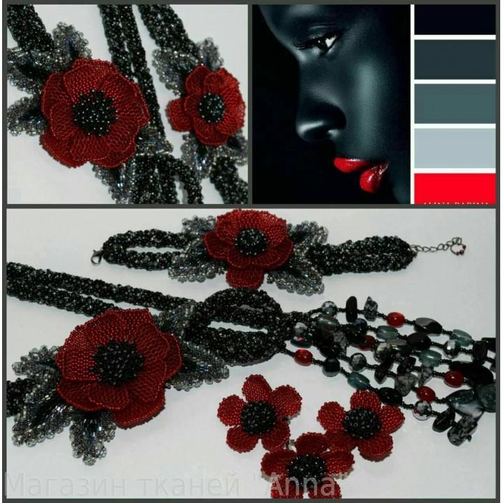 Жгут-петля с браслетом - бисерные украшения выполнены из качественного Японского и Чешского бисера
