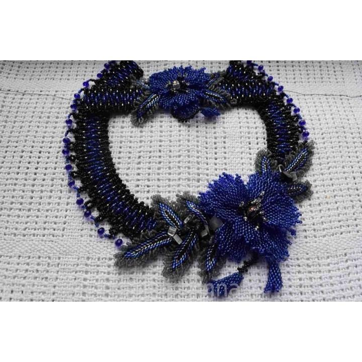 Колье с браслетом в Темно-синем цвете