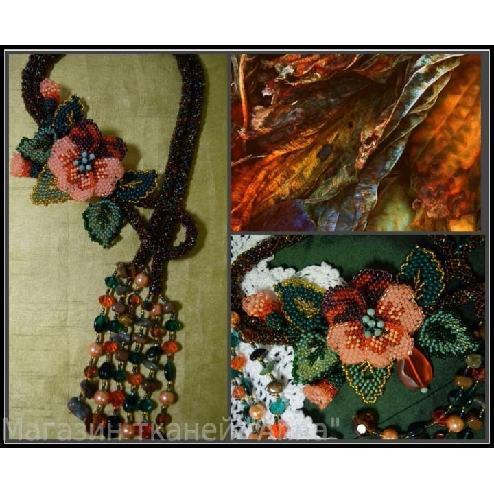 Бисерные украшения Жгут-петля Анютины глазки