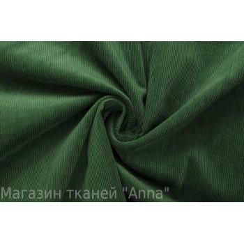 Насыщенный зеленый вельвет-стрейч в мелкий рубчик