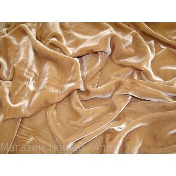 Шелковый Велюр однотонный песочного цвета
