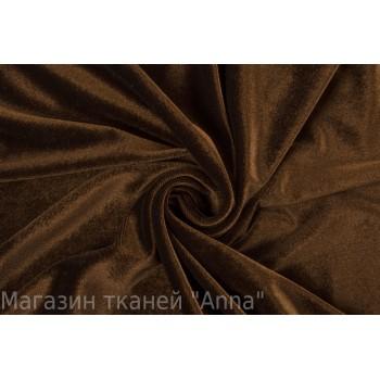 Велюр тонкий, стрейч, коричневого цвета
